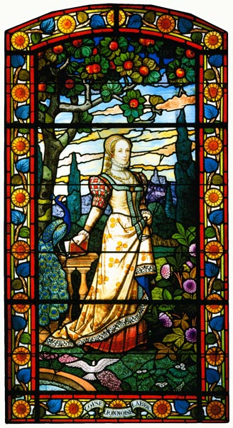 Stained glass window depicting Louise Labé