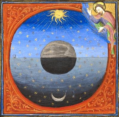 God creating the sun and moon