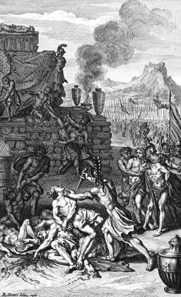 The funeral pyre of Patroclus
