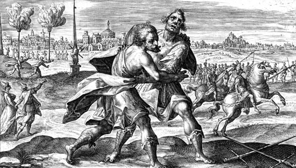 Wrestling match between Ajax and Odysseus