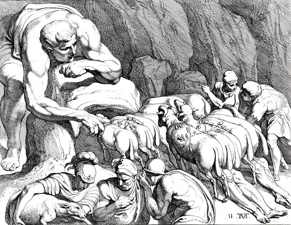 Odysseus escaping from the cave of Polyphemus