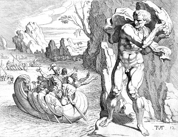 Polyphemus hurls a rock at Odysseus' ship