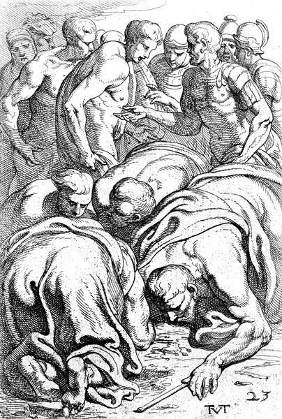 Teiresias drinks the blood of the sacrifice
