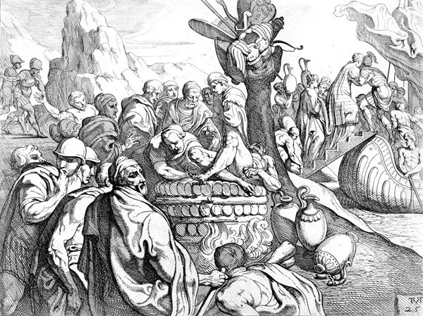 Odysseus cremates Elpenor's body