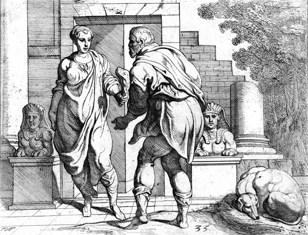 Odysseus, accepts meat from Telemachus