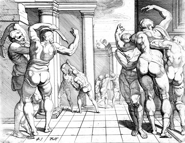 Odysseus kills the suitors with the aid of Telemachus