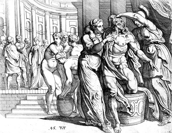 Odysseus and Athene in the bath house