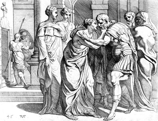 Odysseus and Penelope embrace