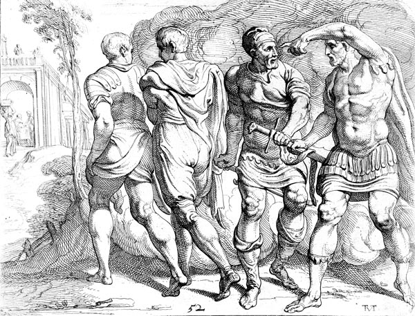 Odysseus arms his companions on their way to Laertes