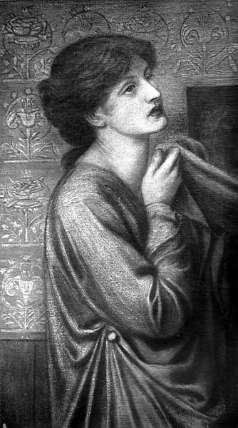 The Pious Lady on the Left (Study for Dante's Dream), Dante Gabriel Rossetti