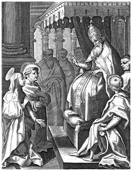 Catherine at the Court of the Pope in Avignon, Cornelis Galle (I)