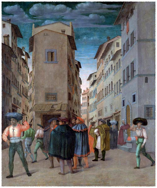 Florentine Street Scene with Twelve Figures, Anonymous
