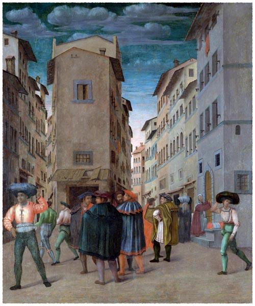 Florentine Street Scene with Twelve Figures, Anonymous