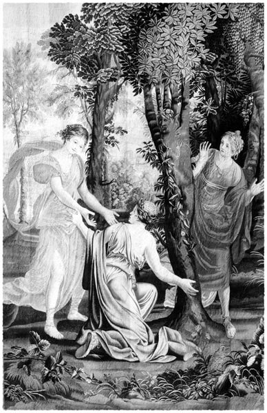 Three Nymphs Surrounding the Daphne Laurel, Raphael de la Planche
