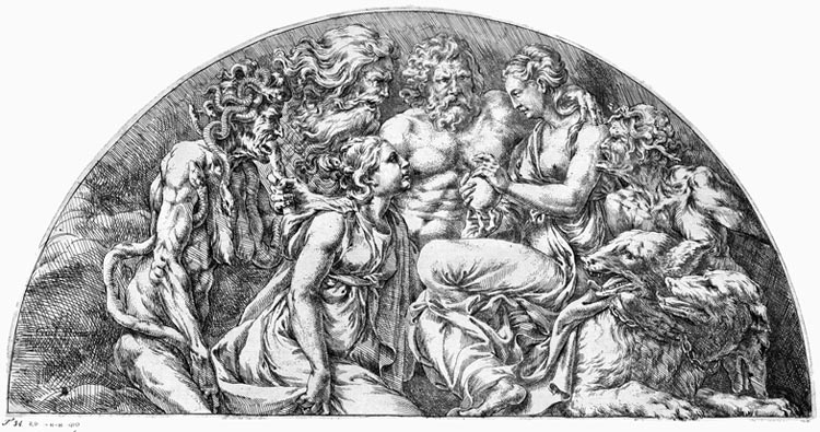 Psyche receives the jar with Proserpina's beauty