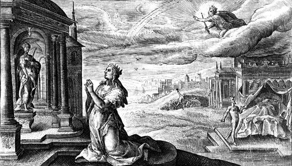 van de Passe Illustration - Alcyone prays for the safe return of Ceyx