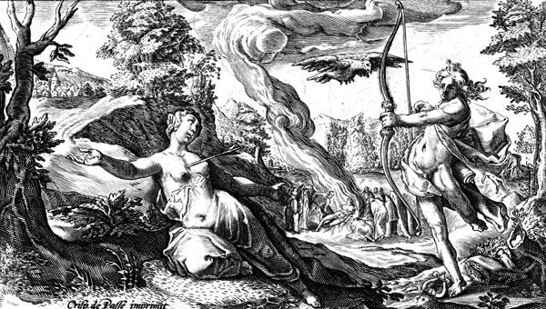 van de Passe Illustration - Apollo kills Coronis