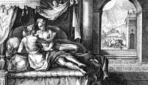 van de Passe Illustration - Apollo seduces Leucothoe