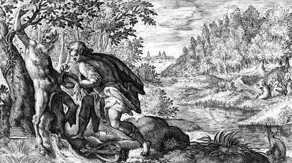 van de Passe Illustration - Apollo flays Marsyas