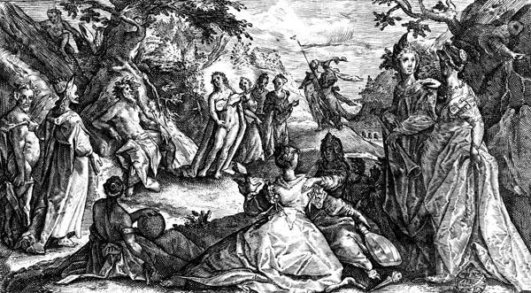 van de Passe Illustration - Apollo and Pan