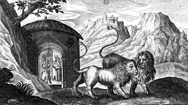van de Passe Illustration - Atalanta and Hippomenes changed into lions