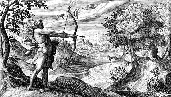 van de Passe Illustration - Arcas draws his bow on Callisto