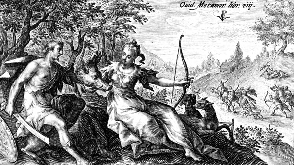 van de Passe Illustration - Meleager and Atalanta – the Calydonian Hunt