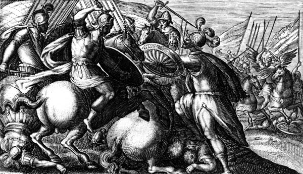 van de Passe Illustration - Cygnus battles with the Trojans against the Greeks