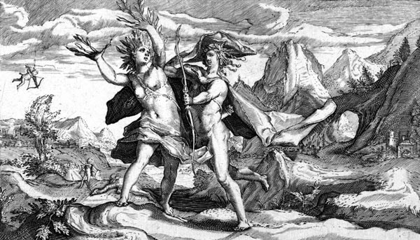 van de Passe Illustration - Apollo pursues Daphne