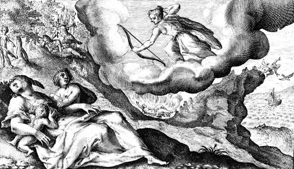van de Passe Illustration - Diana kills Chione