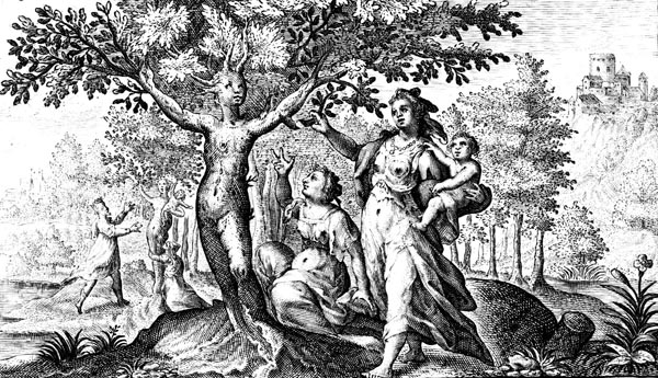 van de Passe Illustration - Dryope picking the blossom