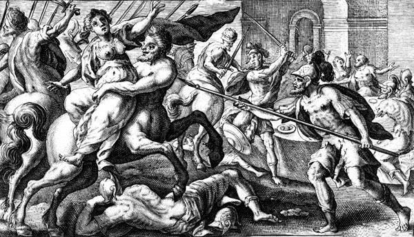 van de Passe Illustration - Eurytus seizes Hippodames