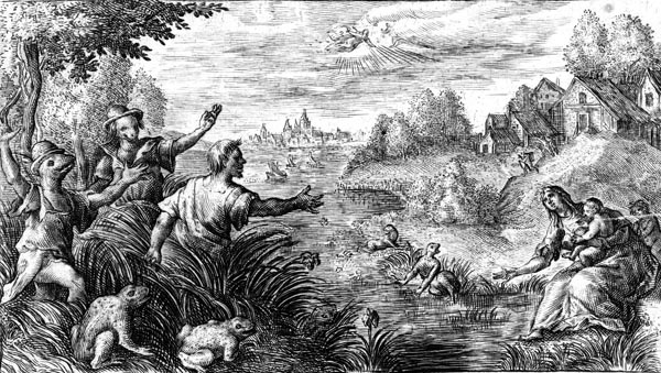 van de Passe Illustration - Latona turning the Lycian farmers into frogs