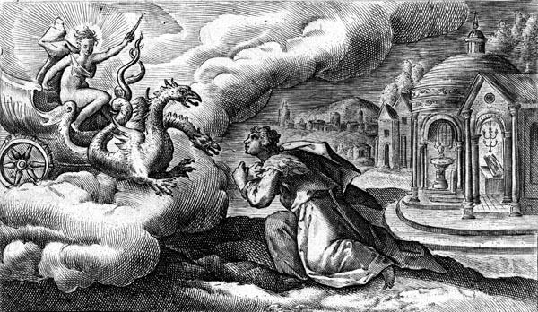 van de Passe Illustration - Medea invokes Hectate