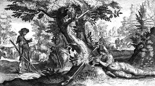 van de Passe Illustration - Mercury turns Battus to stone