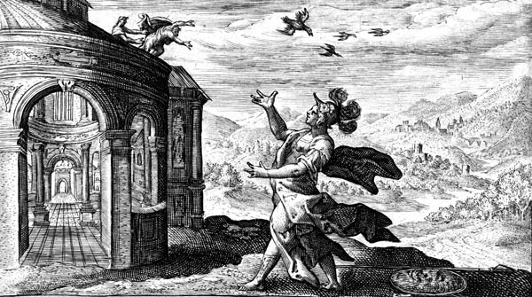 van de Passe Illustration - Minerva transforms Talos into a partridge