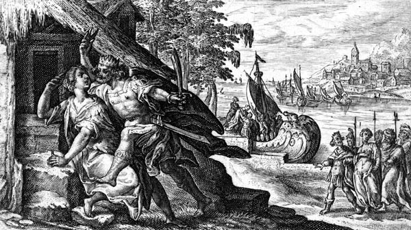 van de Passe Illustration - Tereus cuts out Philomela's tongue