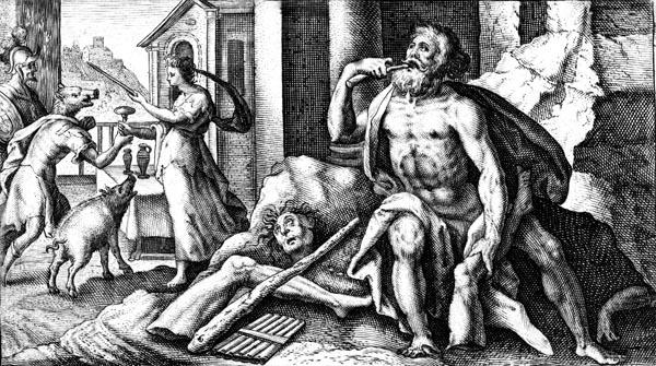 van de Passe Illustration - Polyphemus devours the followers of Ulysses