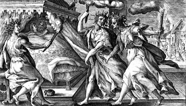 van de Passe Illustration - The Furies visit Tereus and Procne on their wedding night