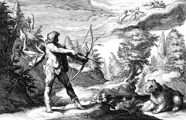 Goltzius Illustration - Arcas Preparing to Kill his Mother