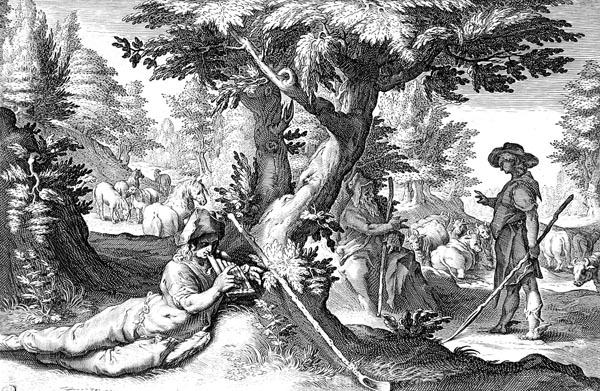 Goltzius Illustration - Battus Changed into a Stone