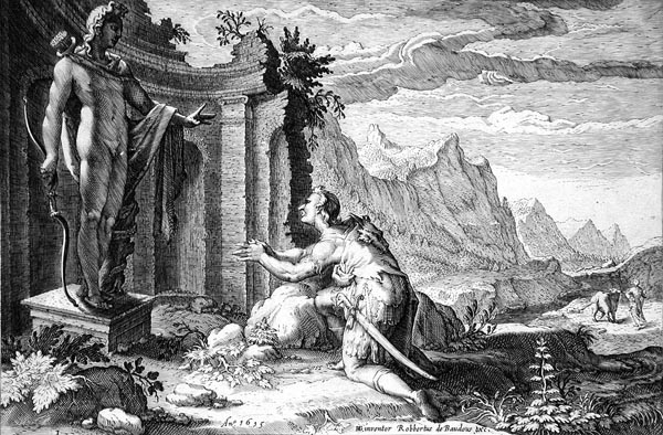 Goltzius Illustration - Cadmus Asks the Delphic Oracle