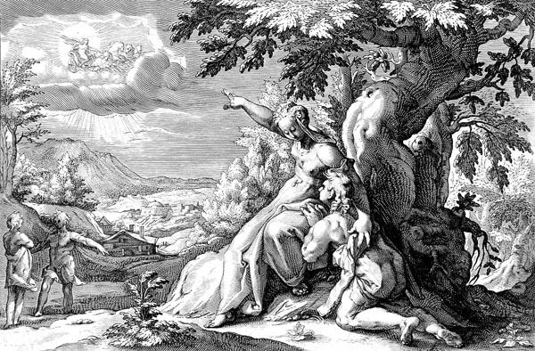 Goltzius Illustration - Clymene Urging Phaeton to Find Helios