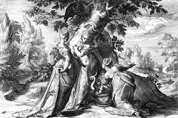 Goltzius Illustration - The Daughters of Cecrops finding Erichthonius