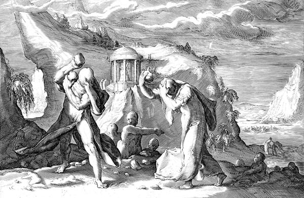 Goltzius Illustration - Deucalion and Pyrrha Repopulate the Earth