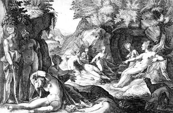 Goltzius Illustration - Diana and Her Nymphs