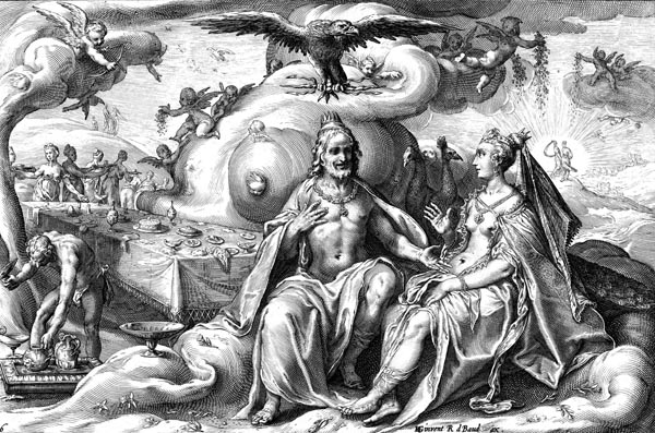 Goltzius Illustration - Dispute Between Jupiter and Juno