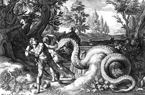 Goltzius Illustration - The Dragon Devours the Companions of Cadmus