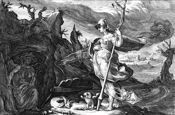 Goltzius Illustration - Minerva Recommends Envy