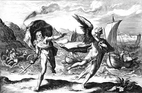 Goltzius Illustration - Neptune Pursuing Coronis